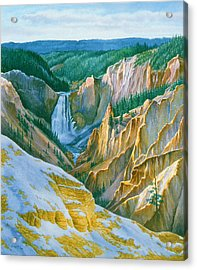 Yellowstone Grand Canyon - November Acrylic Print by Paul Krapf