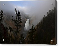 Yellowstone - Lower Falls At Sunrise Acrylic Print by George Bostian