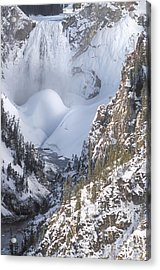 Yellowstone -  Lower Falls In Winter Acrylic Print by Sandra Bronstein