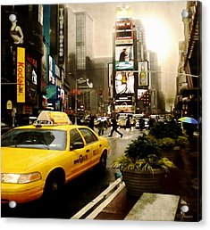 Yelow Cab At Time Square New York Acrylic Print