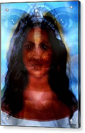 Yemaya -she Sees All Acrylic Print by Carmen Cordova