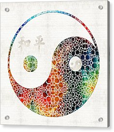 Yin And Yang - Colorful Peace - By Sharon Cummings Acrylic Print by Sharon Cummings