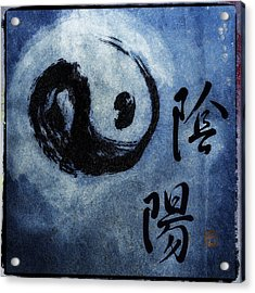 Acrylic Print featuring the photograph Yin  Yang Brush Calligraphy by Peter v Quenter