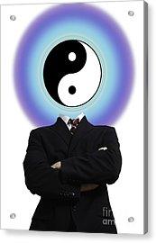 Yin Yang In A Man Acrylic Print by Monica Schroeder