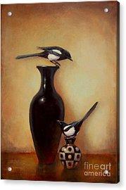 Yin Yang - Magpies  Acrylic Print by Lori  McNee