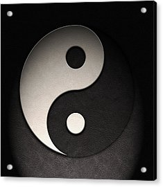 Acrylic Print featuring the digital art Yin Yang Symbol Leather Texture by Brian Carson