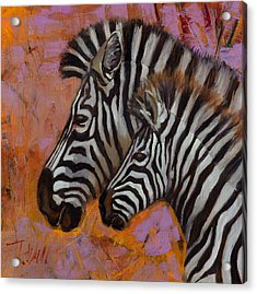Acrylic Print featuring the painting Yipes Stripes by Pattie Wall