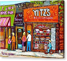 Yitzs Deli Toronto Restaurants Cafe Scenes Paintings Of Toronto Landmark City Scenes Carole Spandau  Acrylic Print by Carole Spandau