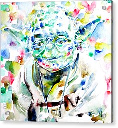 Yoda Watercolor Portrait.1 Acrylic Print