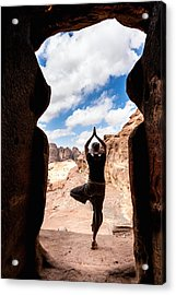 Yoga In Petra Acrylic Print
