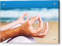 Yoga Meditation On The Beach Acrylic Print