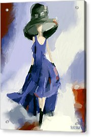 Yohji Yamamoto Fashion Illustration Art Print Acrylic Print by Beverly Brown