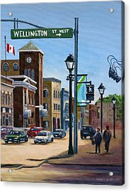 Acrylic Print featuring the painting Yonge And Wellington South Side    by Margit Sampogna