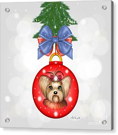 Yorkie Ornament Acrylic Print by Catia Cho