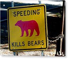Yosemite Bear Sign Speeding Kills Bears Acrylic Print by Jeff Lowe