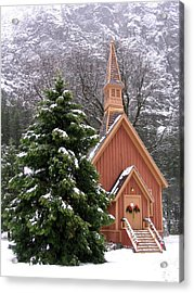 Acrylic Print featuring the photograph Yosemite Chapel In Winter by Kevin Desrosiers