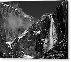 Yosemite Falls In Black And White Acrylic Print by Bill Gallagher