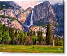 Acrylic Print featuring the painting Yosemite Falls by Michael Pickett