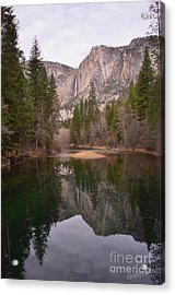 Yosemite Falls Reflection Acrylic Print by Debby Pueschel