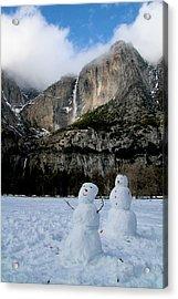 Yosemite Falls Snowmen Acrylic Print by Patricia Sanders