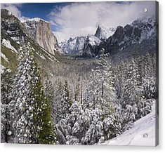 Yosemite Valley In Winter Acrylic Print by Richard Berry
