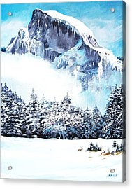 Acrylic Print featuring the painting Yosemite Winter by Al Brown