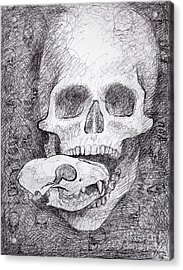 You Are What You Eat Skull Drawing Acrylic Print by Adam Long