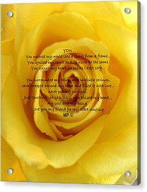 You Poem On Yellow Rose Acrylic Print