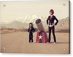 Young Boy And Woman Business Team With Acrylic Print by Richvintage