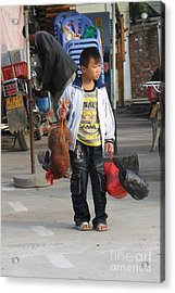 Young Boy Carrying A Dead Chicken To School Acrylic Print
