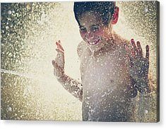 Young Boy In Splashing Water Backlit By Acrylic Print by Fran Polito