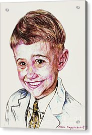 Young Boy Acrylic Print by PainterArtist FIN