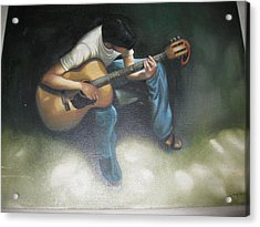 Young Boy Playing The Guitar Acrylic Print