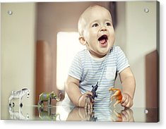 Young Boy Playing With Toy Animals Acrylic Print by Orbon Alija