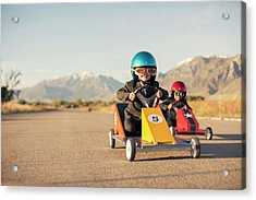 Young Boy Races Toy Car Wearing Acrylic Print by Richvintage