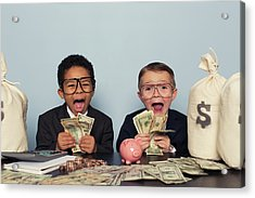 Young Business Children Make Faces Acrylic Print by Richvintage