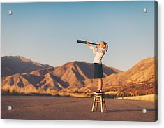 Young Business Girl Looks Through Telescope Acrylic Print by RichVintage