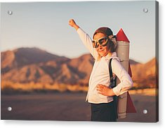 Young Business Girl With Rocket Pack Acrylic Print by RichVintage
