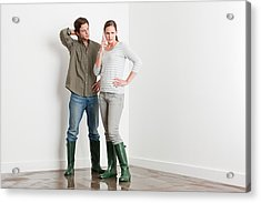 Young Couple On Flooded Floor Acrylic Print by Image Source