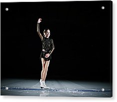 Young Female Figure Skater Finishing Acrylic Print