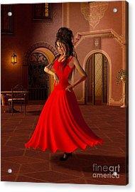 Young Flamenco Dancer Acrylic Print by Fairy Fantasies