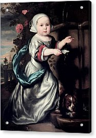 Young Girl At A Fountain, 1662 Oil On Canvas Acrylic Print