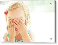 Young Girl Covering Face With Hands Acrylic Print by Ian Hooton