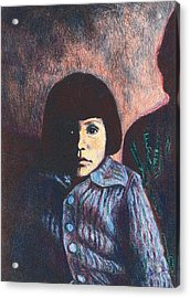 Young Girl In Blue Sweater Acrylic Print by Kendall Kessler