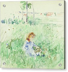 Young Girl Seated On The Lawn Acrylic Print by Berthe Morisot