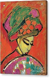 Young Girl With A Flowered Hat Acrylic Print