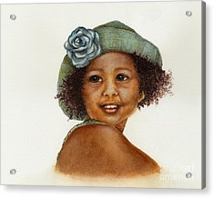 Young Girl With Straw Hat Acrylic Print by Nan Wright