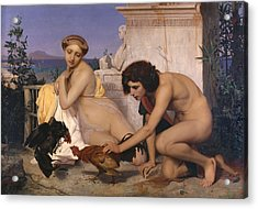 Young Greeks Attending A Cock Fight Acrylic Print by Jean Leon Gerome