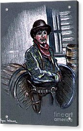 Acrylic Print featuring the painting Young Gunfighter by Joyce Gebauer
