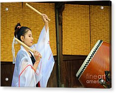 Young Japanese Lady In Period Costume Playing Taiko Drum Acrylic Print